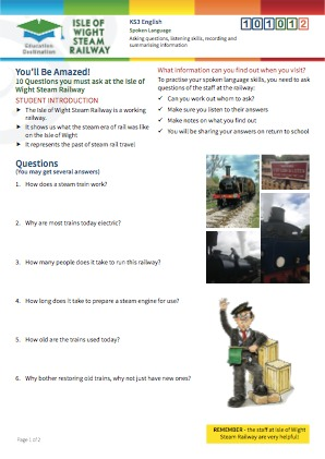 Click to view Resource 101012 10 Questions you must ask at the Isle of Wight Steam Railway