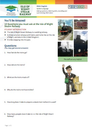 Click to view Resource 101022 10 Questions you must ask at the Isle of Wight Steam Railway