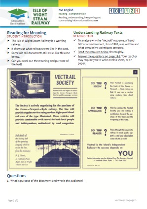 Click to view Resource 101121 Understanding Railway Texts - Reading for Meaning