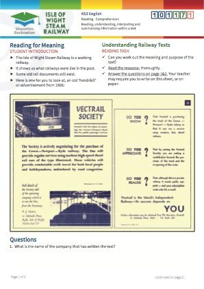 Click to view Resource 101171 Understanding Railway Texts - Reading for Meaning