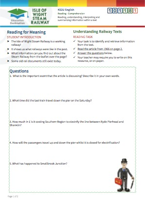 Click to view Resource 101181 Understanding Railway Texts - Reading for Meaning