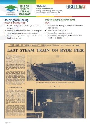Click to view Resource 101182 Understanding Railway Texts - Reading for Meaning