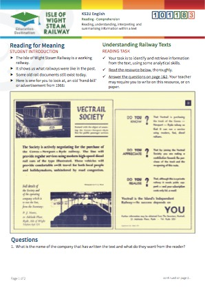Click to view Resource 101183 Understanding Railway Texts - Reading for Meaning