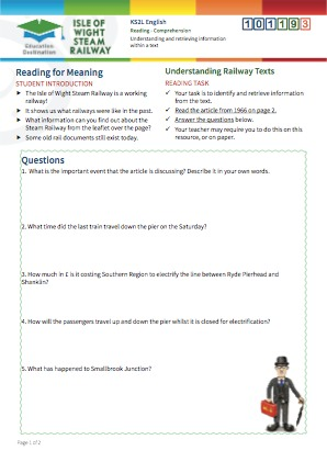Click to view Resource 101193 Understanding Railway Texts - Reading for Meaning