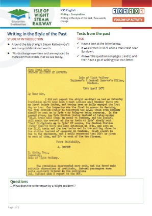 Click to view Resource 101101 Writing in the Style of the Past / How Words Change