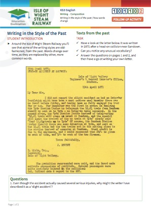 Click to view Resource 101102 Writing in the Style of the Past / How Words Change