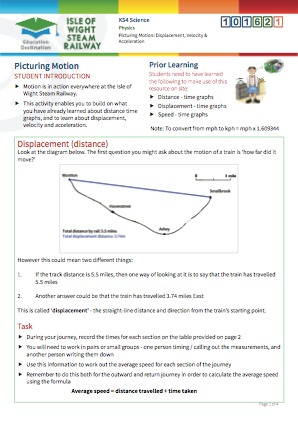 Click to view Resource 101621 Picturing motion: displacement, velocity and acceleration