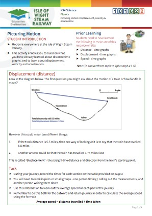 Click to view Resource 101622 Picturing motion: displacement, velocity and acceleration