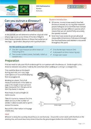 Click to view Resource 102391 Can you outrun a dinosaur?