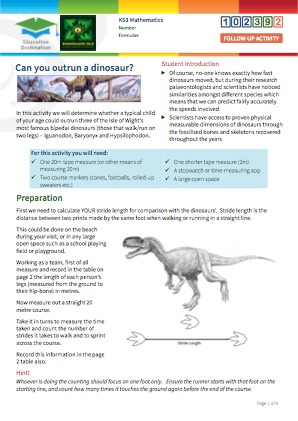 Click to view Resource 102392 Can you outrun a dinosaur?