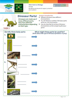 Click to view Resource 102292 Identifying animal parts for support, protection and movement