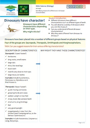 Click to view Resource 102301 Identifying reasons for differences in dinosaur characteristics