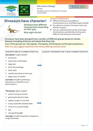 Click to view Resource 102302 Identifying reasons for differences in dinosaur characteristics
