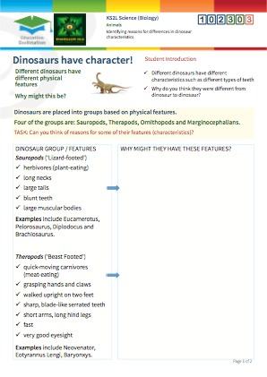 Click to view Resource 102303 Identifying reasons for differences in dinosaur characteristics