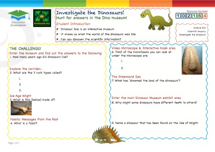Click to view Resource 102164 Investigate the Dinosaurs!