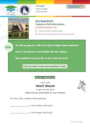 Click to view Resource 104071 Any Questions? Using questioning skills at the Donkey Sanctuary.