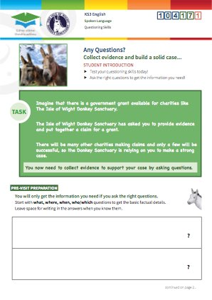 Click to view Resource 104171 Any Questions? Using questioning skills at the Donkey Sanctuary.