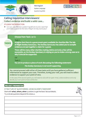 Click to view Resource 104172 Calling Inquisitive Interviewers! Using questioning skills at the Donkey Sanctuary.