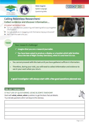 Click to view Resource 104182 Calling Relentless Researchers! Questioning for Information at the Donkey Sanctuary