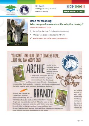 Click to view Resource 104091 Read for Meaning! Adoption donkeys
