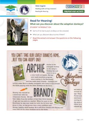 Click to view Resource 104211 Read for Meaning! Adoption donkeys