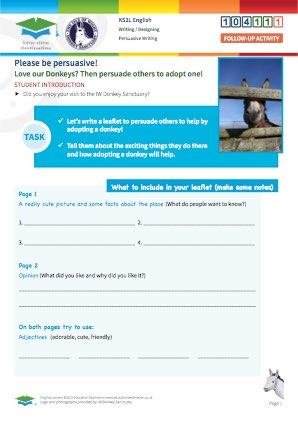 Click to view Resource 104111 Design a persuasive Adopt a Donkey Charity Leaflet