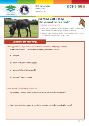 Click to view Resource 104153 Calculating Costs at the Isle of Wight Donkey Sanctuary