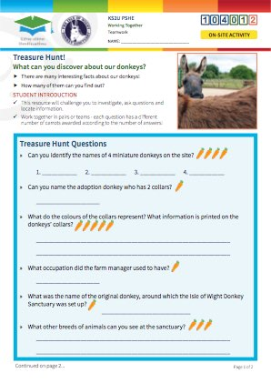 Click to view Resource 104012 Donkey Sanctuary Treasure Hunt!