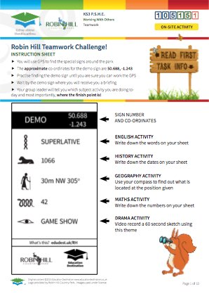 Click to view Resource 105151 Robin Hill Teamwork Challenge! (Multi-Subject)