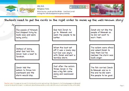 Click to view Resource 106341 Jonah and the Whale - Card Sort!