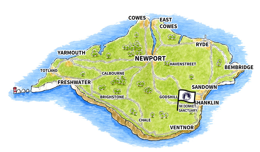 Location map for Isle of Wight Donkey Sanctuary